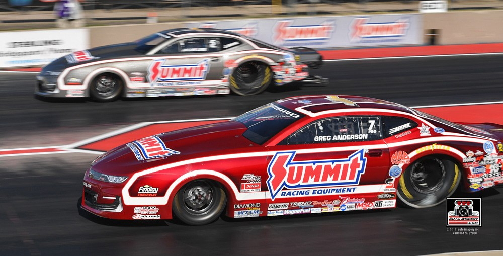 Summit Racing Chevrolet Camaro Pro Stock drivers Greg Anderson, near, and Jason Line